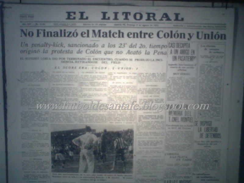 Página del diario El Litoral, donde se reflejaba la suspensión del partido. Foto: archivo Fútbol de Santa Fe.