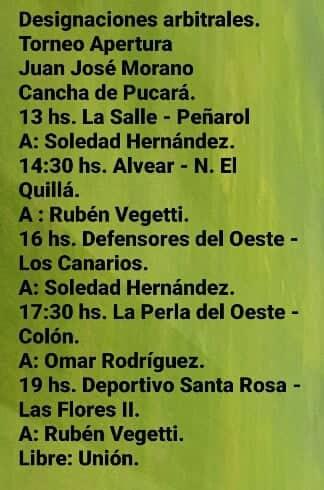 Designaciones, finales de la B y última fecha A, Apertura Juan José Moran0