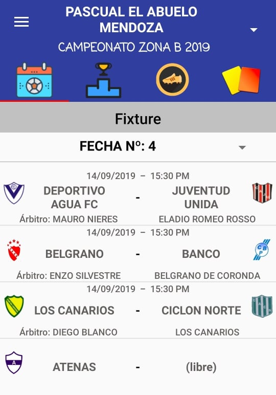 Designaciones arbitrales, fecha 4, Zona Campeonato B, Clausura Pascual