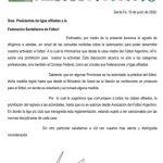 Comunicado Federación Santafesina de Fútbol