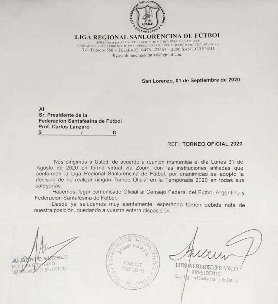 Sin actividad oficial en el 2020, Liga Sanlorencina